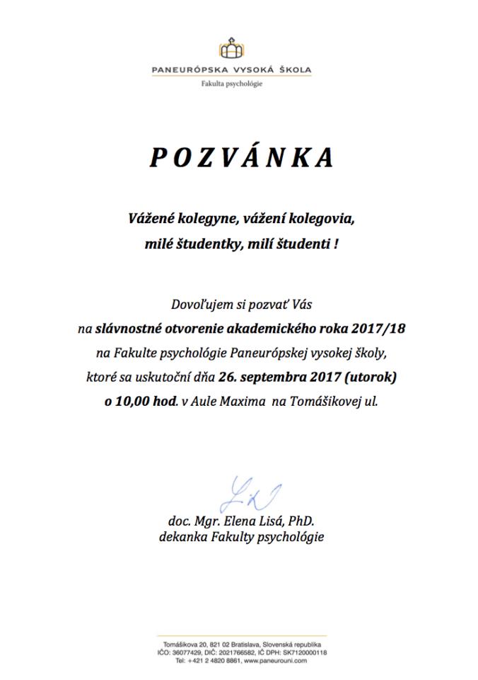 Oficiálna pozvánka na otvorenie ak. roka 2017/2018 na Fakulte psychológie PEVŠ
