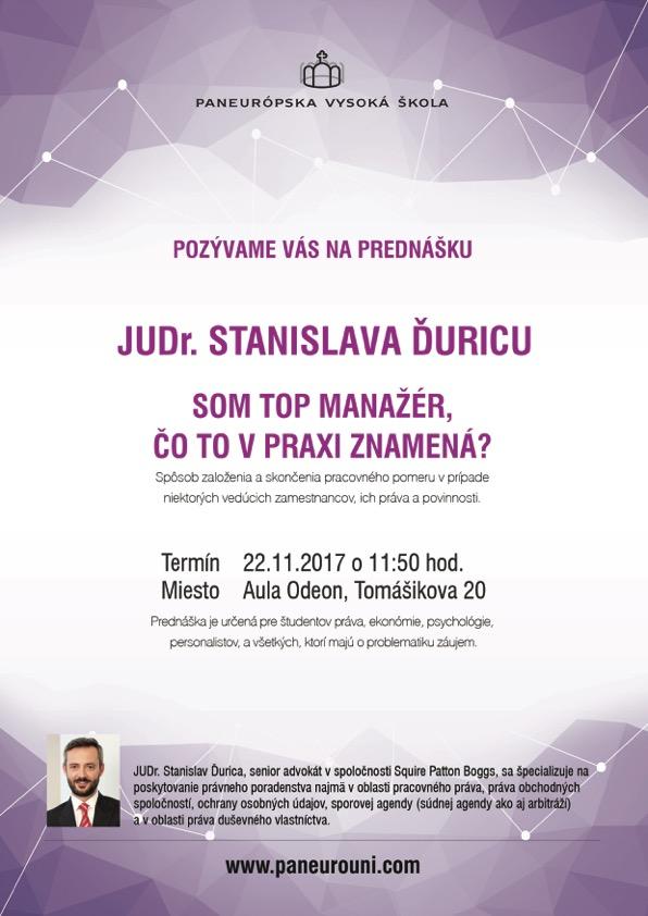 Prednáška Stanislava Ďuriciu zo Squire Patton Boggs sa uskutoční na Fakulte práva PEVŠ