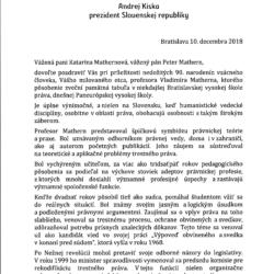 List prezidenta Andreja Kisku