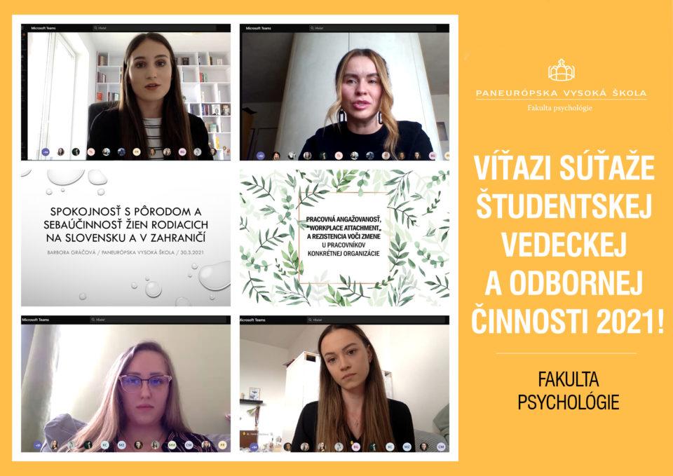 Fakulta psychológie pozná víťazov súťaže Študentskej vedeckej a odbornej činnosti 2021!